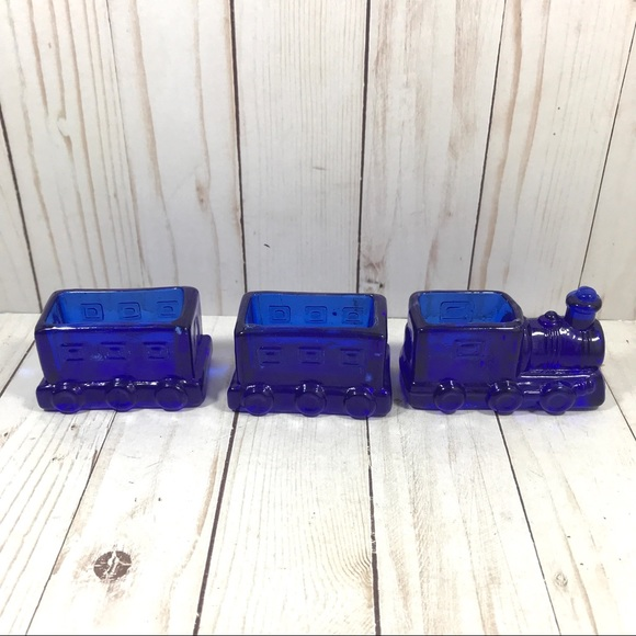 Vintage Cobalt Train Box Car Candy Trinket Holder